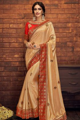 Yellow Color Satin Silk Designer Saree With Cord Embroidery Work