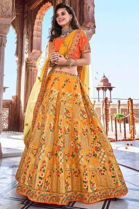 Yellow Color Silk Designer Lehenga Choli