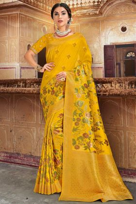 Yellow Color Silk Wedding Saree With Embroidery Work