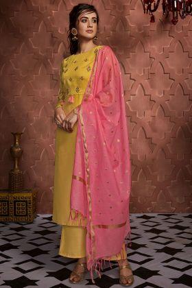 Yellow Color Soft Silk Readymade Palazzo Salwar Kameez