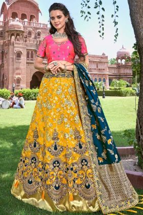 Yellow Color Stone Work Silk Lehenga Choli
