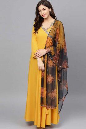 Yellow Color Stylish Wedding Gown For Haldi Rasam
