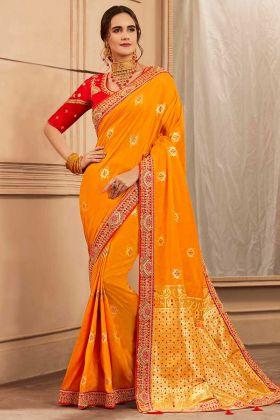 Yellow Color Thread Embroidery Heavy Banarasi Silk Festival Saree