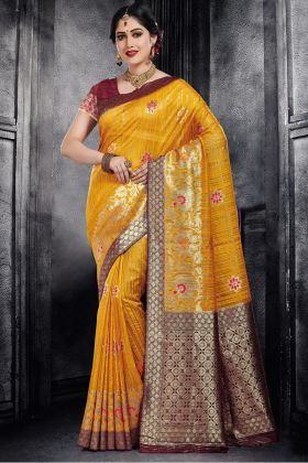 Yellow Color Traditional Silk Saree Online
