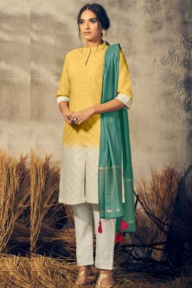 Yellow Color Viscose Pant Style Suit In Thread Embroidered