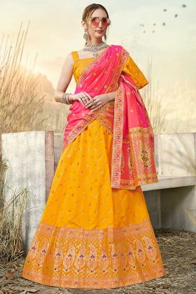 Yellow Color Weaving Work Banarasi Silk Jacquard Designer Lehenga Choli
