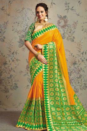 Yellow Color Wedding Saree