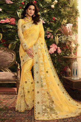 Yellow Color Zari Work Pure Pandora Silk and Net Wedding Saree