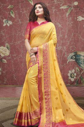 Yellow Cotton Festive Saree Online