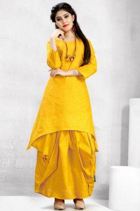 Yellow Cotton Slub Dhoti Kurti