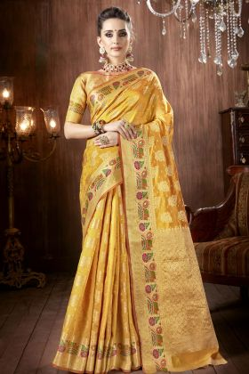 Yellow Crepe Festive Saree