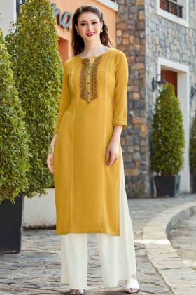 Yellow Flex Rayon Straight Kurti With Rayon Palazzo