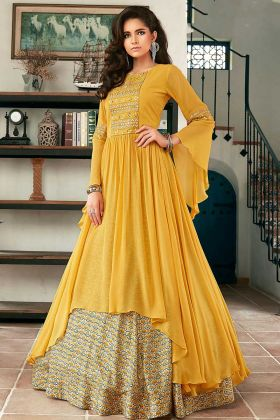 Yellow Heavy Faux Georgette Designer Lehenga Suit With Hand Work