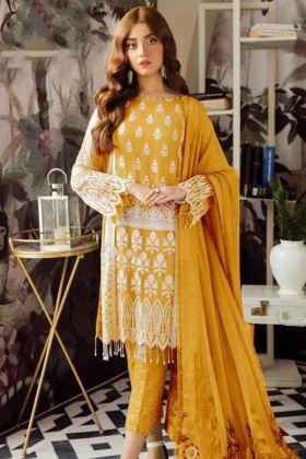 Yellow Heavy Georgette Pakistani Suit With Naznin Dupatta