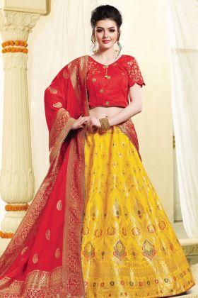 yellow Jacquard Silk Lehenga Choli