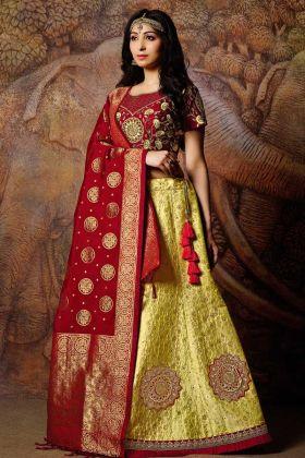 Yellow Jacquard Weaved Silk Wedding Lehenga