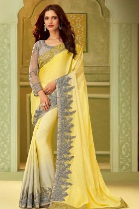 Yellow Luxury Silk Fancy Saree Online
