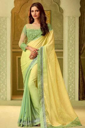 Yellow Luxury Silk Stylish Saree