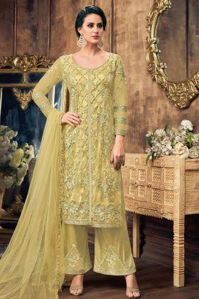Yellow Net Palazzo Salwar Suit Online