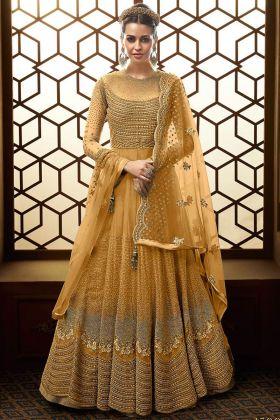 yellow Net Wedding Anarkali Suit