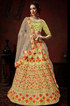 Yellow Nylon Satin Bridal Lehenga Choli