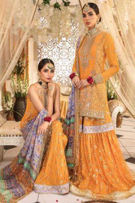 Yellow Pakistani Sharara Salwar Kameez In Faux Georgette Fabric