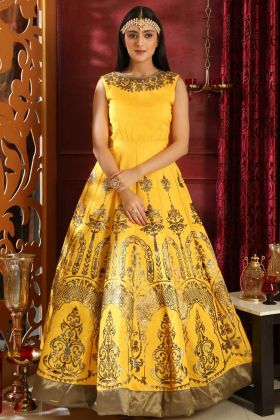 Yellow Party Wear Gown Silk Fabric