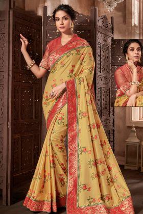 Yellow Printed Silk Wedding Saree