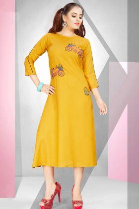 Yellow Rayon Long Kurti