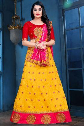 Yellow Sana Silk Party Wear Lehenga Choli