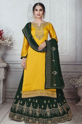 Yellow Satin Georgette Suit With Two Bottom