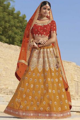 Yellow Silk Wedding Lehenga Choli