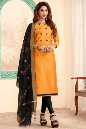 Yellow Slub Cotton Churidar Salwar Kameez With Nazneen Dupatta