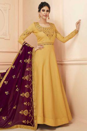 Yellow Tussar Silk Anarkali Salwar Kameez With Dupatta