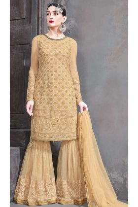 Zari Embroidery Beige Net Garara suit Design
