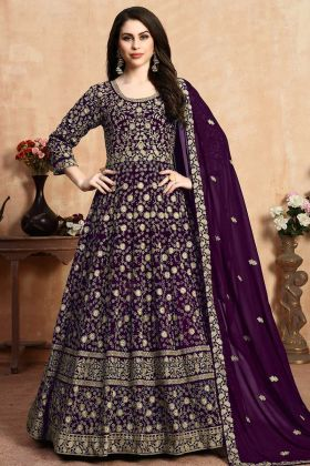 Zari Embroidery Georgette Anarkali Suit Dark Purple