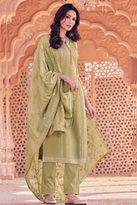 Zari Embroidery Viscose Muslin Olive Salwar Suit