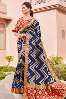 Zari Embroidery Work Blue Color Weaved Silk Sarees For Wedding