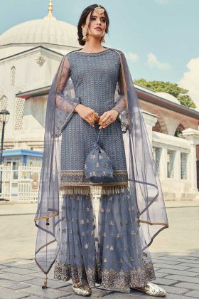 Zari Embroidery Grey Sharara Suit