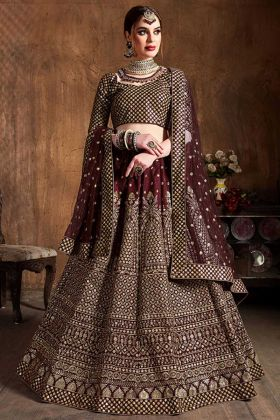 Zari Embroidery Work Brown Color Art Silk Lehenga Choli