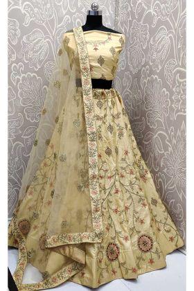 Zari Embroidery Work Light Yellow Color Satin Silk Designer Lehenga Choli
