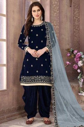 Zari Embroidery Work Navy Blue Color Velvet Patiala Dress