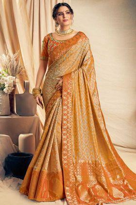 Zari Embroidery Work Orange Color Jacquard Silk Designer Saree