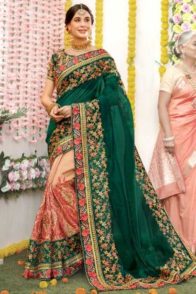 Zari Embroidery Work Pine Green and Beige Color Orgenza Silk Reception Saree