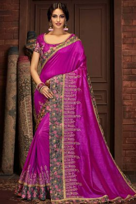 Zari Embroidery Work Purple Color Silk Saree