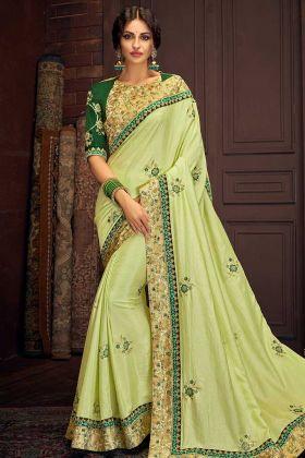 Zari Embroidery Work Satin Silk Border Saree In Light Green Color