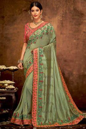 Zari Embroidery Work Silk Georgette Festival Saree Green Color