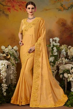 Zari Embroidery Work Yellow Color Pure Silk Wedding Saree