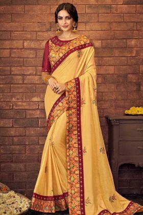 Zari Embroidery Yellow Color Dual Tone Silk Georgette Designer Saree