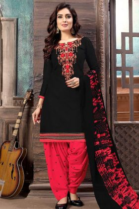 Zari Work Cotton Satin Punjabi Salwar Suit In Black Color